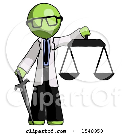 Green Doctor Scientist Man Justice Concept with Scales and Sword, Justicia Derived by Leo Blanchette