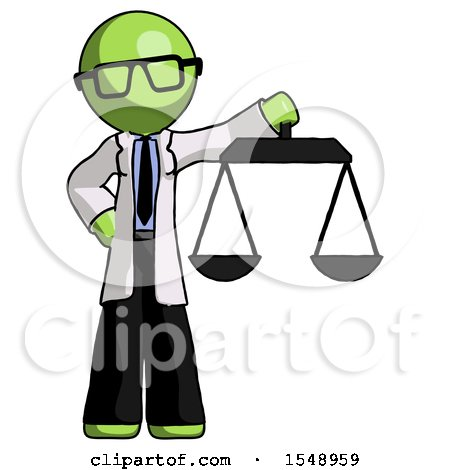 Green Doctor Scientist Man Holding Scales of Justice by Leo Blanchette