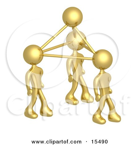 Gold Business People Connected By Atoms, Symbolizing Teamwork, Brainstorming, Creativity And Ideas Clipart Illustration Image by 3poD