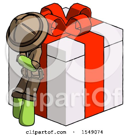 Green Explorer Ranger Man Leaning on Gift with Red Bow Angle View by Leo Blanchette