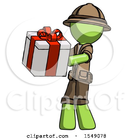Green Explorer Ranger Man Presenting a Present with Large Red Bow on It by Leo Blanchette