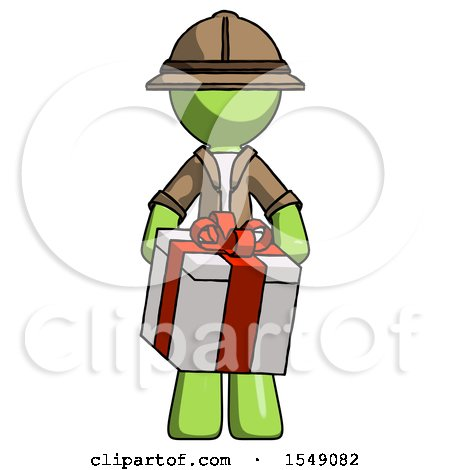 Green Explorer Ranger Man Gifting Present with Large Bow Front View by Leo Blanchette