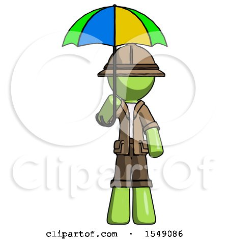 Green Explorer Ranger Man Holding Umbrella Rainbow Colored by Leo Blanchette