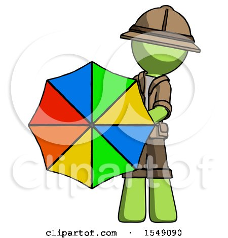 Green Explorer Ranger Man Holding Rainbow Umbrella out to Viewer by Leo Blanchette