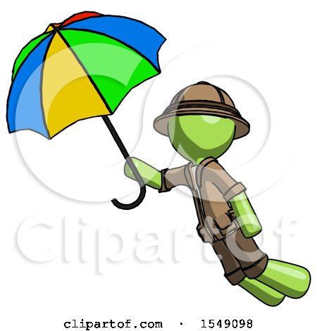 Green Explorer Ranger Man Flying with Rainbow Colored Umbrella by Leo Blanchette