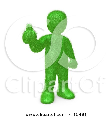Grassy Green Man Giving The Thumbs Up After Making The Decision To Go Green And Organic To Be Earth Friendly  Posters, Art Prints