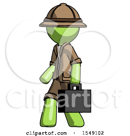 Green Explorer Ranger Man Walking with Briefcase to the Left by Leo Blanchette