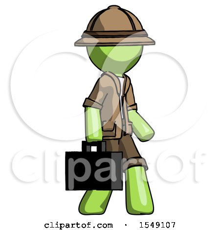 Green Explorer Ranger Man Walking with Briefcase to the Right by Leo Blanchette