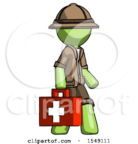 Green Explorer Ranger Man Walking with Medical Aid Briefcase to Right by Leo Blanchette