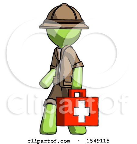 Green Explorer Ranger Man Walking with Medical Aid Briefcase to Left by Leo Blanchette