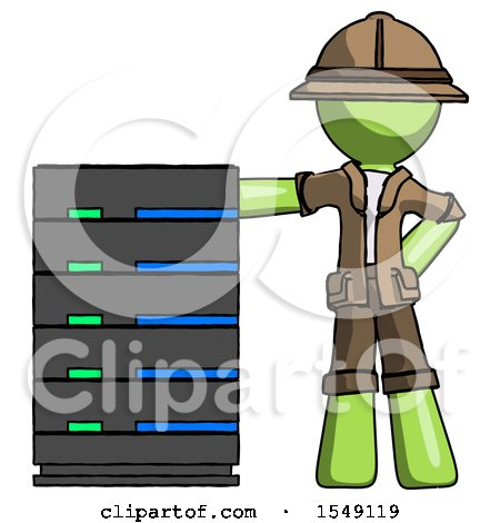 Green Explorer Ranger Man with Server Rack Leaning Confidently Against It by Leo Blanchette
