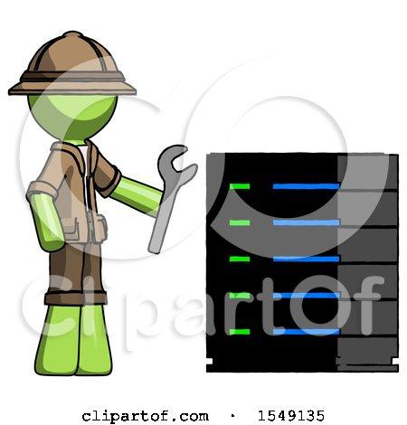 Green Explorer Ranger Man Server Administrator Doing Repairs by Leo Blanchette