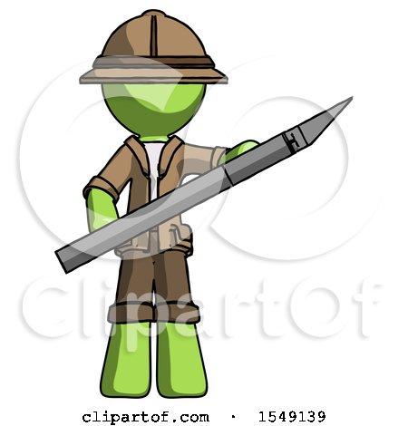 Green Explorer Ranger Man Holding Large Scalpel by Leo Blanchette