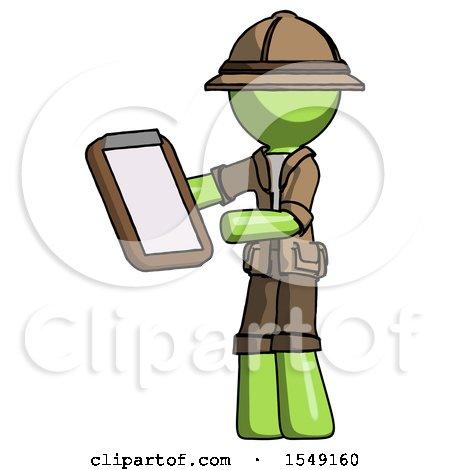 Green Explorer Ranger Man Reviewing Stuff on Clipboard by Leo Blanchette