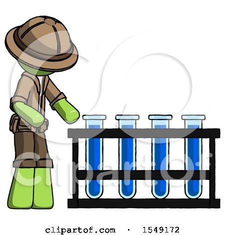 Green Explorer Ranger Man Using Test Tubes or Vials on Rack by Leo Blanchette