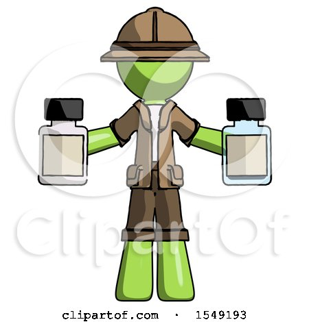 Green Explorer Ranger Man Holding Two Medicine Bottles by Leo Blanchette