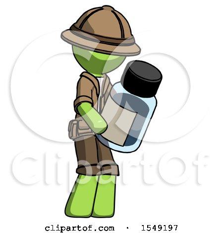Green Explorer Ranger Man Holding Glass Medicine Bottle by Leo Blanchette