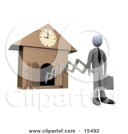 White Businesman In A Suit, Holding A Briefcase And Sticking Out From An Arm Of A Cuckoo Clock Upon The Hour Of 9am, Symbolising The Start Of A New Work Day, Or Punctuality  Posters, Art Prints