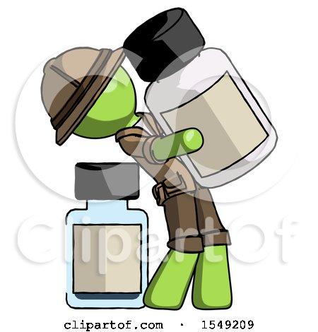 Green Explorer Ranger Man Holding Large White Medicine Bottle with Bottle in Background by Leo Blanchette