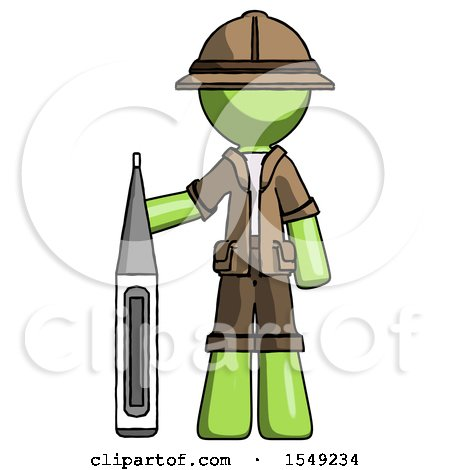 Green Explorer Ranger Man Standing with Large Thermometer by Leo Blanchette