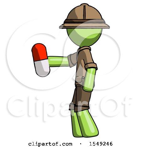 Green Explorer Ranger Man Holding Red Pill Walking to Left by Leo Blanchette