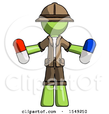 Green Explorer Ranger Man Holding a Red Pill and Blue Pill by Leo Blanchette