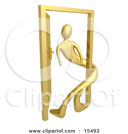 Gold Person Twisted Around The Frame Of An Open Door, Symbolizing Lonliness, Split Personalities, Uncertainty, And An Egotistical Person Clipart Illustration Image by 3poD