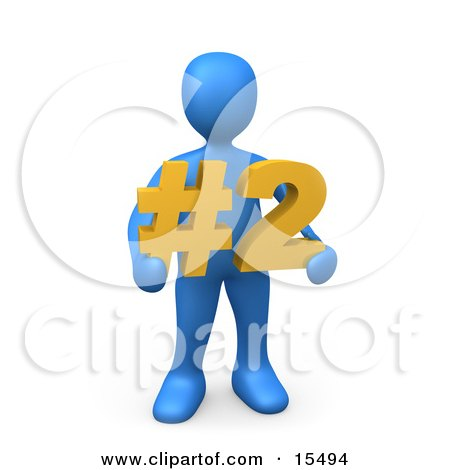 Blue Person Holding A Number Two Sign Clipart Illustration Image by 3poD