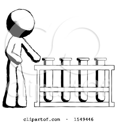 Ink Design Mascot Man Using Test Tubes or Vials on Rack by Leo Blanchette