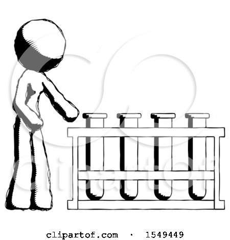 Ink Design Mascot Woman Using Test Tubes or Vials on Rack by Leo Blanchette