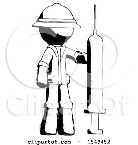 Ink Explorer Ranger Man Holding Large Syringe by Leo Blanchette