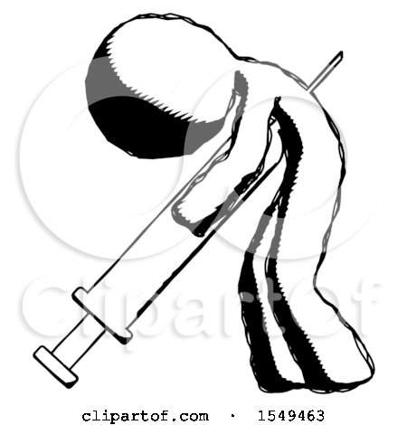 Ink Design Mascot Man Lethal Injection, Impaled on Syringe by Leo Blanchette