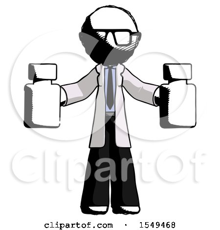 Ink Doctor Scientist Man Holding Two Medicine Bottles by Leo Blanchette