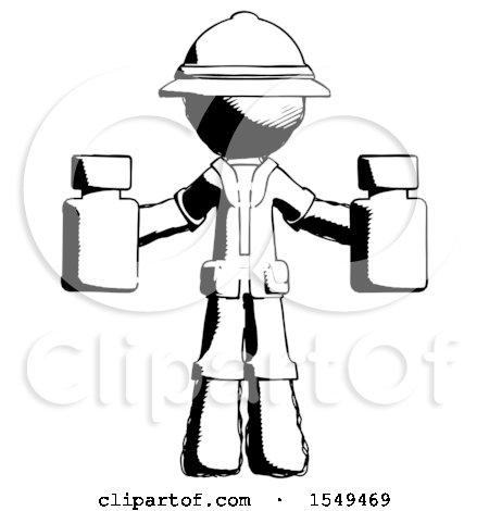 Ink Explorer Ranger Man Holding Two Medicine Bottles by Leo Blanchette