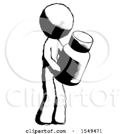 Ink Design Mascot Man Holding Glass Medicine Bottle by Leo Blanchette