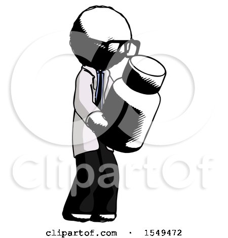 Ink Doctor Scientist Man Holding Glass Medicine Bottle by Leo Blanchette