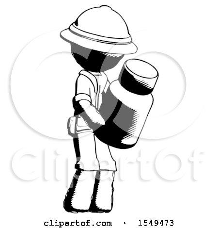 Ink Explorer Ranger Man Holding Glass Medicine Bottle by Leo Blanchette