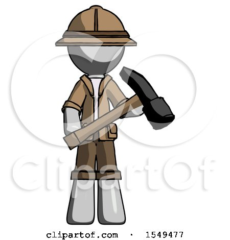 Gray Explorer Ranger Man Holding Hammer Ready to Work by Leo Blanchette