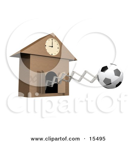 Black And White Soccerball Popping Out Of A Cuckoo Clock As A Reminder For A Soccer Game Or Practice Meet Clipart Illustration Image by 3poD