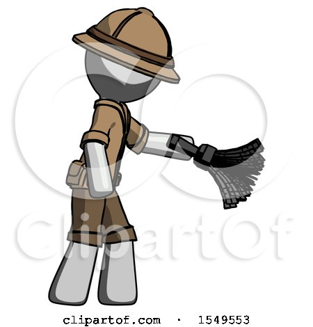Gray Explorer Ranger Man Dusting with Feather Duster Downwards by Leo Blanchette