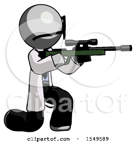 Gray Doctor Scientist Man Kneeling Shooting Sniper Rifle by Leo Blanchette