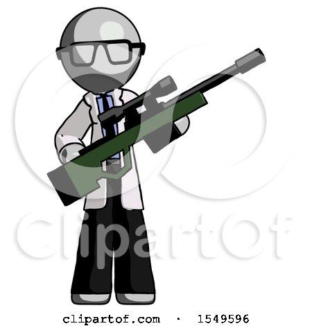 Gray Doctor Scientist Man Holding Sniper Rifle Gun by Leo Blanchette