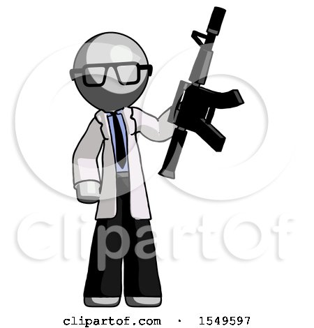 Gray Doctor Scientist Man Holding Automatic Gun by Leo Blanchette