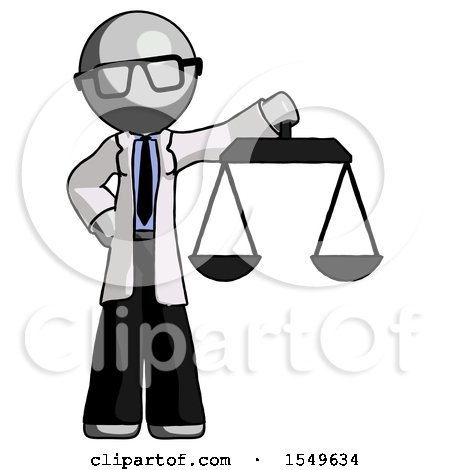 Gray Doctor Scientist Man Holding Scales of Justice by Leo Blanchette
