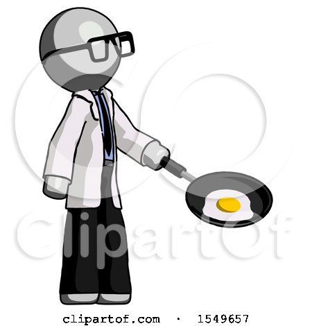 Gray Doctor Scientist Man Frying Egg in Pan or Wok Facing Right by Leo Blanchette