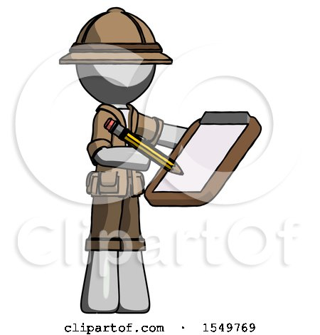 Gray Explorer Ranger Man Using Clipboard and Pencil by Leo Blanchette