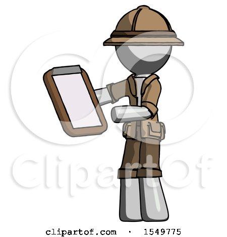 Gray Explorer Ranger Man Reviewing Stuff on Clipboard by Leo Blanchette