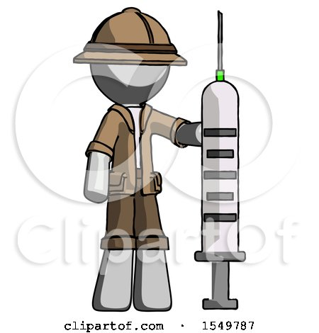 Gray Explorer Ranger Man Holding Large Syringe by Leo Blanchette