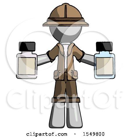 Gray Explorer Ranger Man Holding Two Medicine Bottles by Leo Blanchette