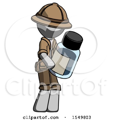 Gray Explorer Ranger Man Holding Glass Medicine Bottle by Leo Blanchette